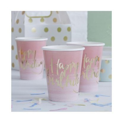 Ombre roze 'Happy Birthday' drinkbekers