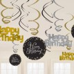 Swirl decoratie goud/zwart/zilver Happy Birthday