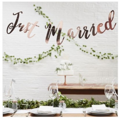 Achtergrond Just Married Rose Gold