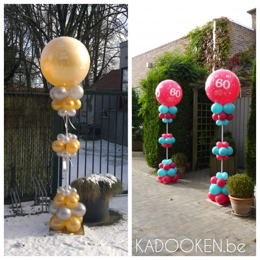 Elegante ballonzuil - Happy Birthday